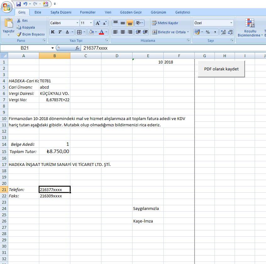 Exceli PDF olarak kaydetme baslangıc