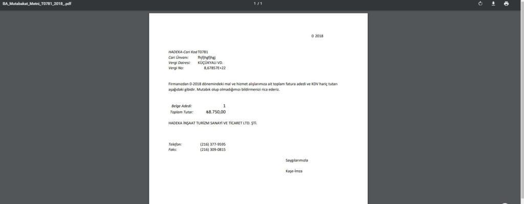 Exceli PDF olarak kaydetmesonuc2