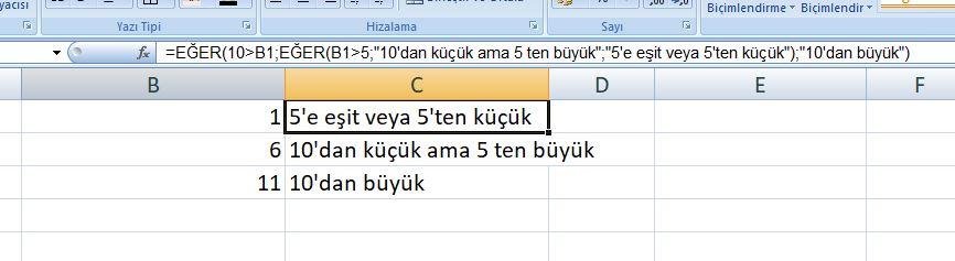 Excel İç içe eğer Kullanımı Basit Örnek